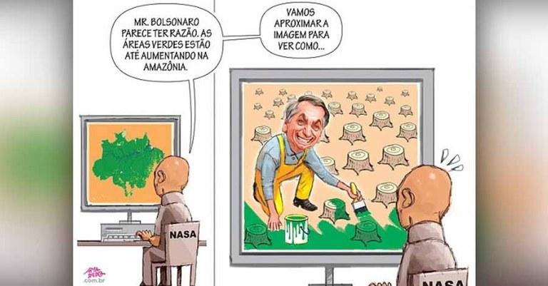 Resultado de imagem para Bolsonaro e a floresta amazônica - charges