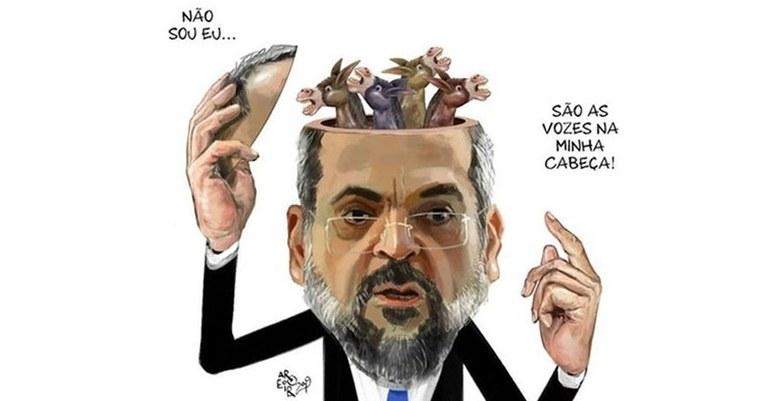 Resultado de imagem para ministro da Educação, Abraham Weintraub - charges