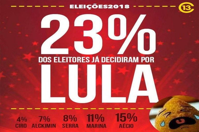 lula 23% para 2018